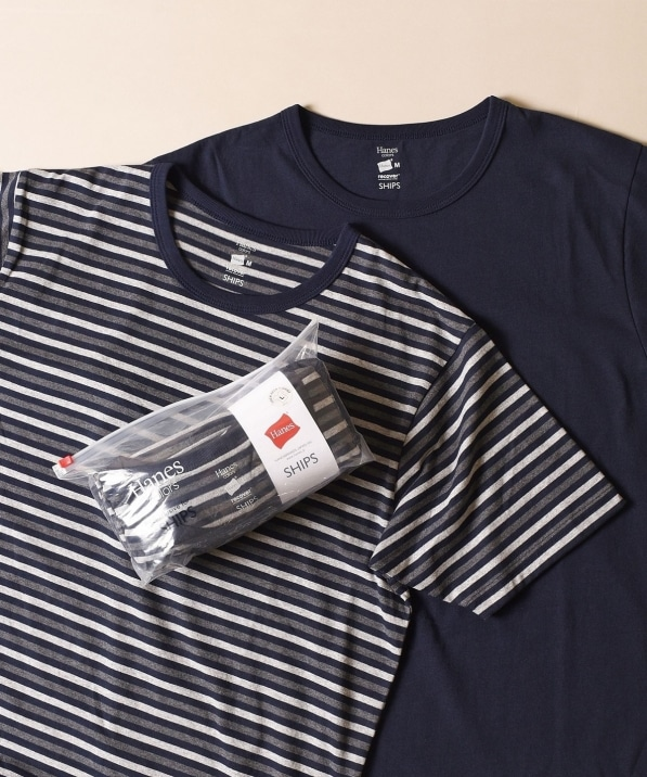 Hanes×SHIPS: 別注 'Colors' RECOVER(R) クルーネックTシャツ (BORDER & SOLID SET)(2枚組)