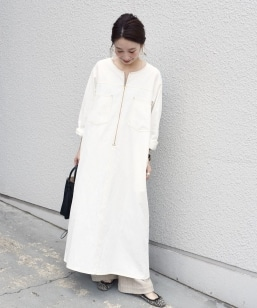 【SHIPS別注】UNIVERSAL OVERALL: ステッチサックワンピースwhite◇