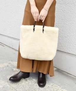 TEMBEA:フェイクファー PAPER TOTE small◇