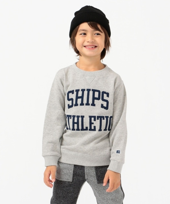 【SHIPS KIDS別注】RUSSELL ATHLETIC:ビッグ ロゴ スウェット(110〜160cm)
