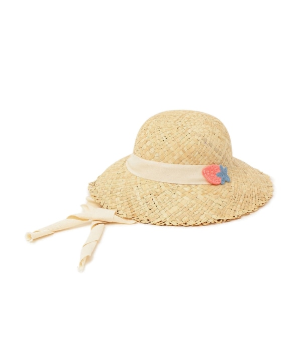 tocoto vintage:Straw hat with straps and strawberry patch
