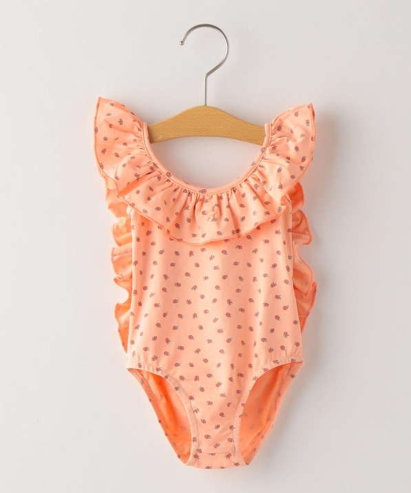 tocoto vintage:Strawberry print ruffled swimsuit(100〜120cm)
