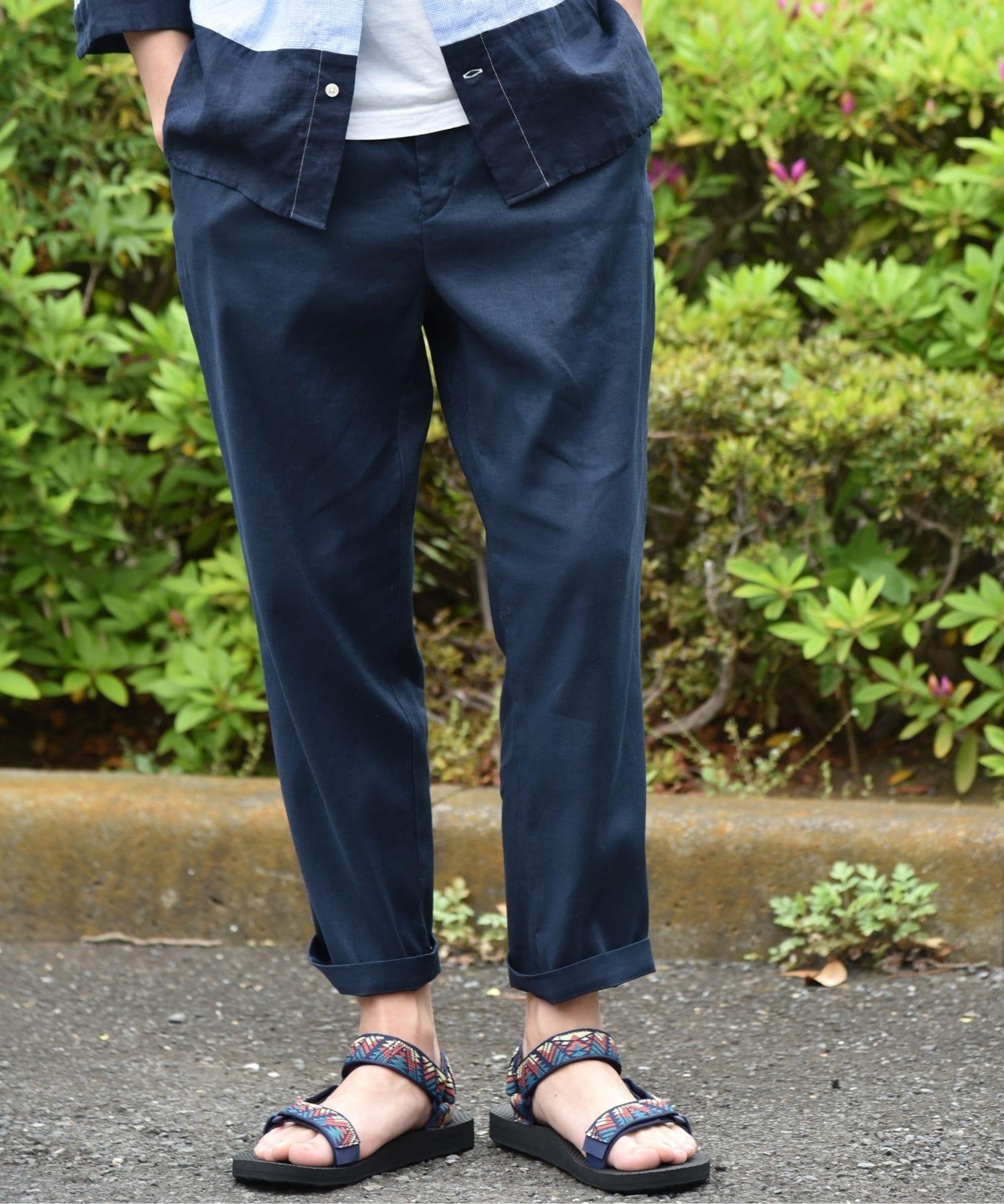 c414fdf6817c8 ゆったりとしたサイズで涼しく穿ける、履き心地抜群のリネンイージーパンツ